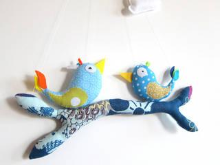 Mobile oiseaux ludique bleu Piaf et Bidouille Chambre d'enfantsAccessoires & décorations Textile Bleu