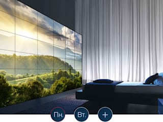 Умный дом - видеостена в спальне. Спальня в классическом стиле от Первая Мультимедийная компания Классический
