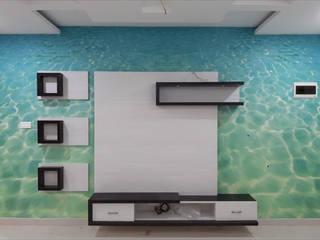 Customised Wallpaper:  Living room by C J Sheth & Co