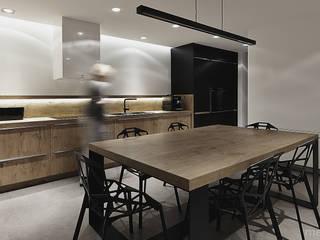 Projekt wnętrza pod łodzią Minimalistyczna kuchnia od Mess Architects Minimalistyczny