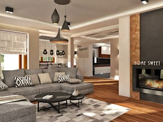 Dom 122m2: styl , w kategorii  zaprojektowany przez AMK Wnętrza