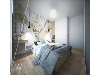 MIESZKANIE TRZYPOKOJOWE INSPIROWANE STYLEM SKANDYNAWSKIM - KONCEPCJA SYPIALNI Skandynawska sypialnia od AAW studio Skandynawski