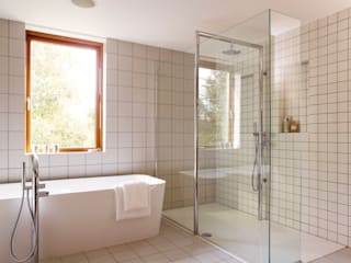 Twin shower: modern  by Holloways of Ludlow Bespoke Kitchens & Cabinetry, Modern Ceramic