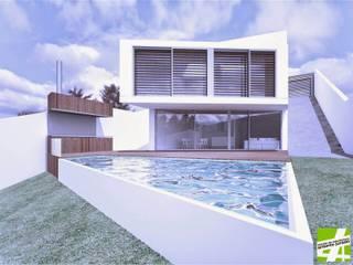 VIVIENDA UNIFAMILIAR EN URB CERRO DEL AGUILA | MIJAS | MÁLAGA Casas de estilo moderno de ESTUDIO DE ARQUITECTURA ANTONIO JURADO Moderno