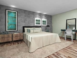 Teia Archdecor Minimalist bedroom Concrete Grey