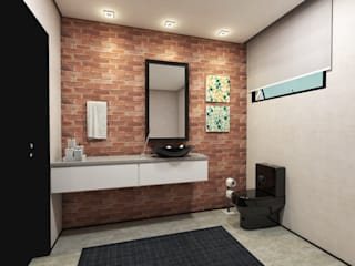 Teia Archdecor Eclectic style bathrooms Bricks Black