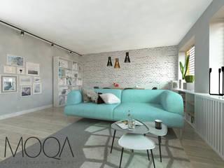 Salon - mieszkanie w bloku: styl , w kategorii  zaprojektowany przez MOQA Monika Lepczyńska