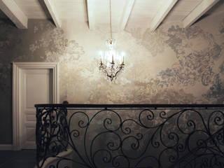 przy schodach szaro-biało Nowoczesne ściany i podłogi