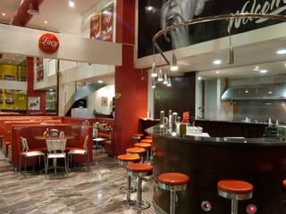 Lucy Hamburgueria Espaços gastronômicos modernos por Habitat Arquitetos Moderno