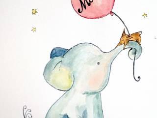 Lámina Elefante con globo de MIVART Escandinavo