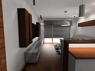 salon z kuchnią Plan Design Katarzyna Szczucka Projektowanie Wnętrz Minimalistyczny salon