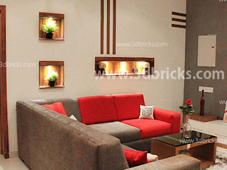 Flat Interiors Modern living room by 3DBricks Modern
