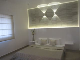 VRR BUILDERS, MOCK UP APARTMENT, BANGALORE. (www.depanache.in):  Bedroom by De Panache  - Interior Architects