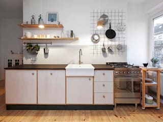 Happyhomes Minimalist kitchen Wood Grey