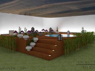 Área de lazer com ofurô : Spas  por Diogo Alvarez Arquitetura e projetos 3D