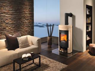 RIKA Innovative Ofentechnik GmbH ห้องนั่งเล่นเตาผิงและของตกแต่ง หิน White