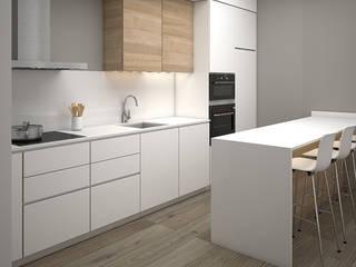 Grupo Inventia Cocinas de estilo industrial Derivados de madera Blanco