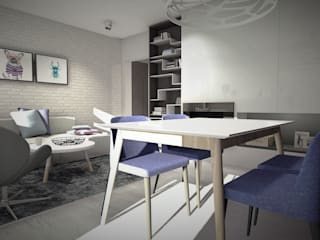 Mieszkanie w bloku z wielkiej płyty, Polkowice Skandynawski salon od Designbox Marta Bednarska-Małek Skandynawski