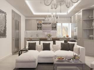 Студия дизайна Виктории Силаевой Ruang Keluarga Klasik White