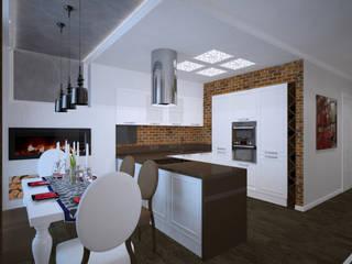 Студия дизайна Виктории Силаевой Cocinas de estilo industrial Blanco