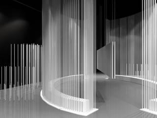 """TRIENNALE DI MILANO - Mostra """"COMUNITA' ITALIA - Architettura, città e paesaggio dal dopoguerra al Duemila"""".: Sala multimediale in stile  di CPstudio46"""
