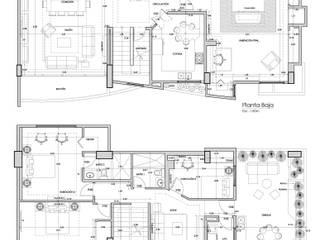 Diseño de Interiores de Apto. Residencial Paredes y pisos de estilo moderno de 5D Proyectos Moderno