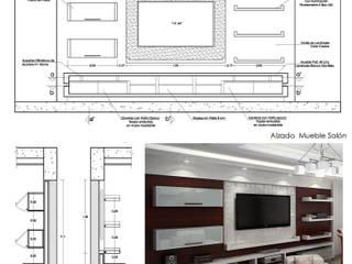 Planos de Detalles y 3Ds de Mueble de Entretenimiento: Salas / recibidores de estilo moderno por 5D Proyectos