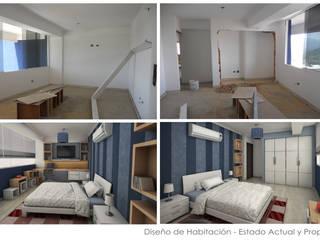 Estado Original de las Habitaciones y Propuesta 3D: Cuartos de estilo moderno por 5D Proyectos