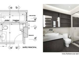 Diseño de Interiores de Apto. Residencial : Baños de estilo moderno por 5D Proyectos