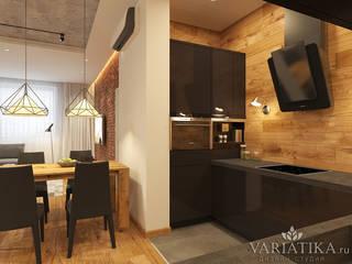 Квартира в стиле лофт - 93 м²: Кухни в . Автор – variatika