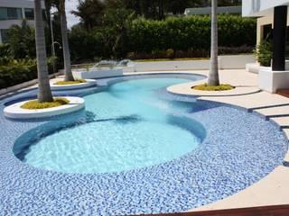 Perspectiva piscina con chorros de agua.: Piscinas de estilo  por Camilo Pulido Arquitectos