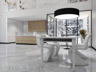 SCHODY NA PIERWSZYM PLANIE Nowoczesna kuchnia od UTOO-Pracownia Architektury Wnętrz i Krajobrazu Nowoczesny