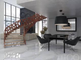 SCHODY NA PIERWSZYM PLANIE Nowoczesne domowe biuro i gabinet od UTOO-Pracownia Architektury Wnętrz i Krajobrazu Nowoczesny