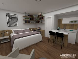 Flat Meliá Ibirapuera II: Quartos  por Marina Scacchetti Arquitetura e Interiores,Moderno