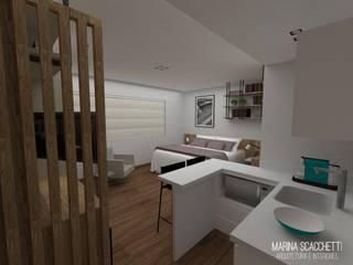 Flat Meliá Ibirapuera II Quartos modernos por Marina Scacchetti Arquitetura e Interiores Moderno