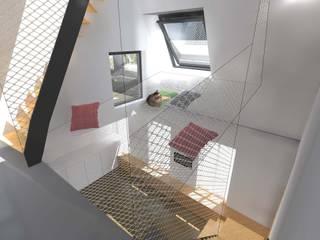 Surélévation partielle d'immeuble en plein cœur de Paris: Salon de style  par Hanuman Architecture