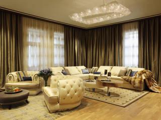 Artikoi crystal chandelier in a country house Manooi Ruang Keluarga Klasik Transparent