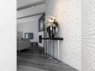 AG Interior Design Modern corridor, hallway & stairs White