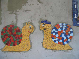 Mosaique ilot centrale: Cuisine de style  par Monique LESTREE