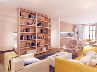 """The apartment"", El Raval -60 m²-, Barcelona. Salones de estilo moderno de GokoStudio Moderno"