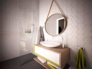 Zółty Apartament Nowoczesna łazienka od WZ STUDIO Nowoczesny