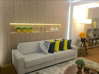 1a Mostra Olhar Consciente Office: Salas de estar  por Beatrice Oliveira - Tricelle Home, Decor e Design