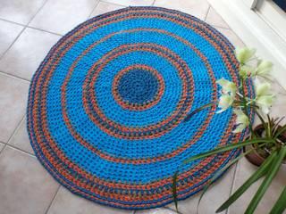 Grand tapis rond crocheté par Fait en Chiffon Éclectique