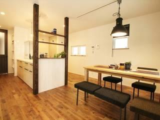 ジャストの家 Eclectic style dining room Wood effect