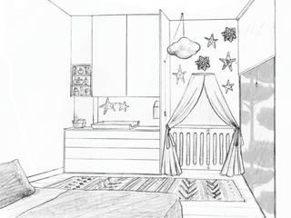 Dessin coin bébé dans la chambre des parents:  de style  par Laetitia Desmond