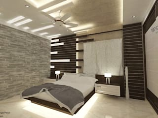 K R Road.:  Bedroom by single pencil architects & interior designers