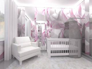 POKÓJ DZIECIĘCY - dziewczynka: styl , w kategorii Pokój dziecięcy zaprojektowany przez IDEALNIE Pracownia Projektowa