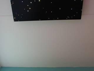 Fiber optic ceiling light star panels shooting falling stars twinkling sauna spa wellness resort starry night sky fibre lights acoustic boards tiles lighting twinkle 3 van MyCosmos Mediterraan