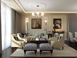 Проект 014: интерьер частного дома: Гостиная в . Автор – студия визуализации и дизайна интерьера '3dm2', Классический