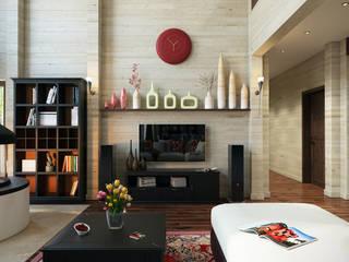 Проект 016: гостиная: Гостиная в . Автор – студия визуализации и дизайна интерьера '3dm2', Лофт